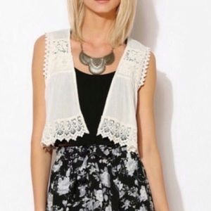 Urban Outfitters | Kimchi Blue Ivory Crochet Vest